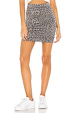 SUNDRY Leopard Ruched Skirt in Pigment Charcoal