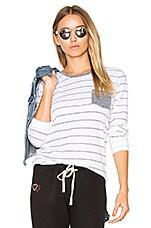 Stripes Slub Tee with Pocket in White