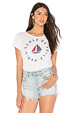 SUNDRY Ecole De Voile Vintage Tee in White