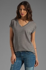 Texture Jersey Basic V Neck Tee in Grey Heather