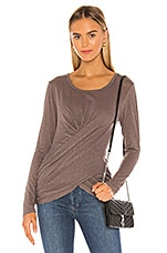 SUNDRY Twist Front Long Sleeve in Smoke
