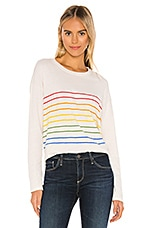SUNDRY Rainbow Stripes Long Sleeve in Vanilla