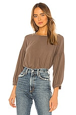 SUNDRY Bubble Sleeve Top in Mink