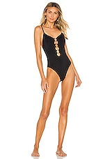 Seafolly Active Front Ring One Piece in Black