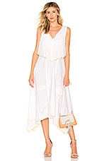 See By Chloe Embroidered Midi Dress in White & Yellow