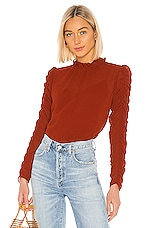 See By Chloe Ruched Long Sleeve Blouse in Earthy Red