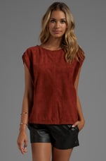 Short Sleeve Suede Round Neck Shirt in Burnt