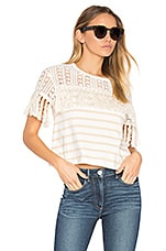 Short Sleeve Fringe Top in Cream