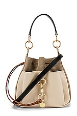 See By Chloe Tony Medium Leather Bucket Bag in Motty Grey