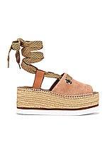 See By Chloe Glyn Wrap Platform Sandal in Powder & Natural Calf