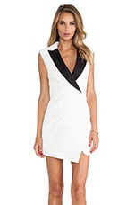 self-portrait Sculpted Tuxedo Dress in White & Black
