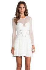 self-portrait Paneled Long Sleeve Dress in Off White