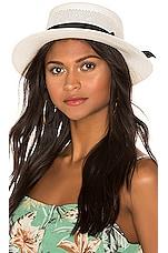SENSI STUDIO Boater Hat Calado in White