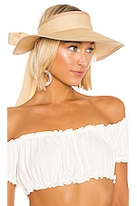SENSI STUDIO Long Brim Visera Visor in Beige & Cream