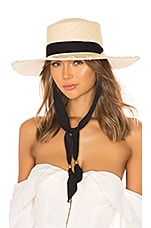 SENSI STUDIO Frayed Long Brim Boater Hat in Natural & Black