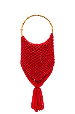 SENSI STUDIO Macrame Bag with Bamboo Handle in Red