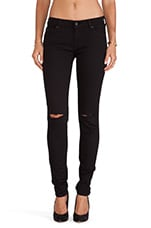 7 For All Mankind Skinny with Knee Slashes in Clean Black