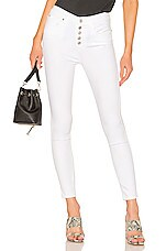 7 For All Mankind High Waist Ankle Skinny in White Runaway
