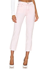 7 For All Mankind High Waist Cropped Straight in Mineral Pink