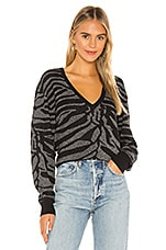 7 For All Mankind Zebra Lurex Sweater in Jet Black & Silver