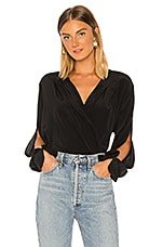 7 For All Mankind Cross Front Drape Top in Jet Black