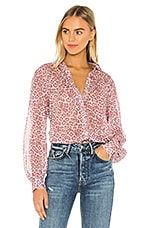 7 For All Mankind Puff Sleeve Button Up Shirt in Rose Leopard