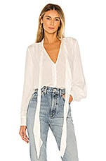 7 For All Mankind Foil Satin Blouse in Optic White