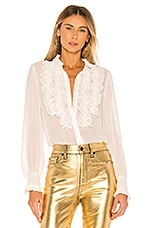 7 For All Mankind Ruffle Yoke Top in Soft White