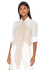 7 For All Mankind Flounce Front Blouse in Optic White