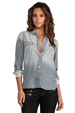 Flap Pocket Denim Shirt in Grey