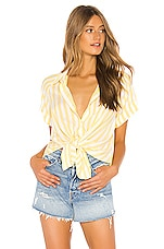 7 For All Mankind Tie Front Shirt in Dandelion & White Stripe