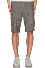Flat Front Short in Black Linen Chambray