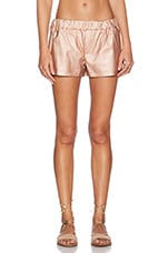 Faux Leather Gym Short in Metallic Rose Gold