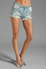 Crystallized Cut Off Shorts in Denim