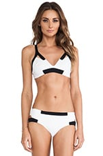 Neoprene Cut Out Bikini Top in White & Black