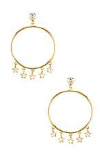 SHASHI Star Dangle Hoop Earrings in Gold