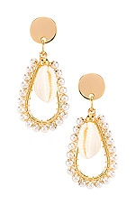 SHASHI Perla Shell Hoop Earring in Gold