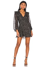 Shona Joy Bowie Ruffle Mini Dress in Black Multi