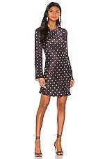Shona Joy O'dell Long Sleeve Bias Mini Dress in Black & Tan