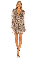 Shona Joy Garner Drawstring Mini Dress in Chocolate & Multi