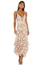 Shona Joy Tie Front Godet Midi Dress in Multi