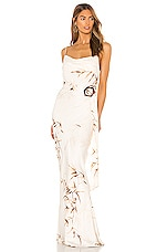 Shona Joy Horizon Bias Cowl Maxi Dress in Cream & Tan