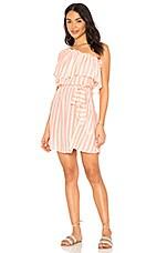 Shoshanna One Shoulder Dress in Grapefruit & White