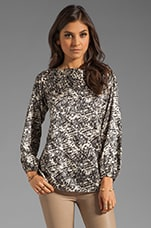Winter Park Print Aliza Blouse in Winter White/Black