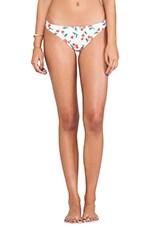 15th Anniversary Cherries Print Bikini Bottom in White Multi
