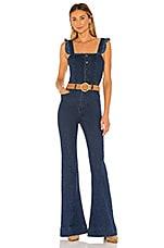 Show Me Your Mumu Rhea Ruffle Jumpsuit in Blue Note