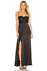 Show Me Your Mumu Winslet Cowl Maxi Dress in Black Sheen