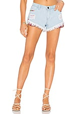 Show Me Your Mumu Cabo Cut Off Shorts in Crystal Cove With Fiesta Pockets