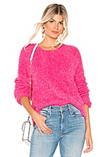 Show Me Your Mumu Cropped Varsity Sweater in Dazzling Pink