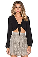 Show Me Your Mumu Nat-Tie-Lie Top in Black Crisp